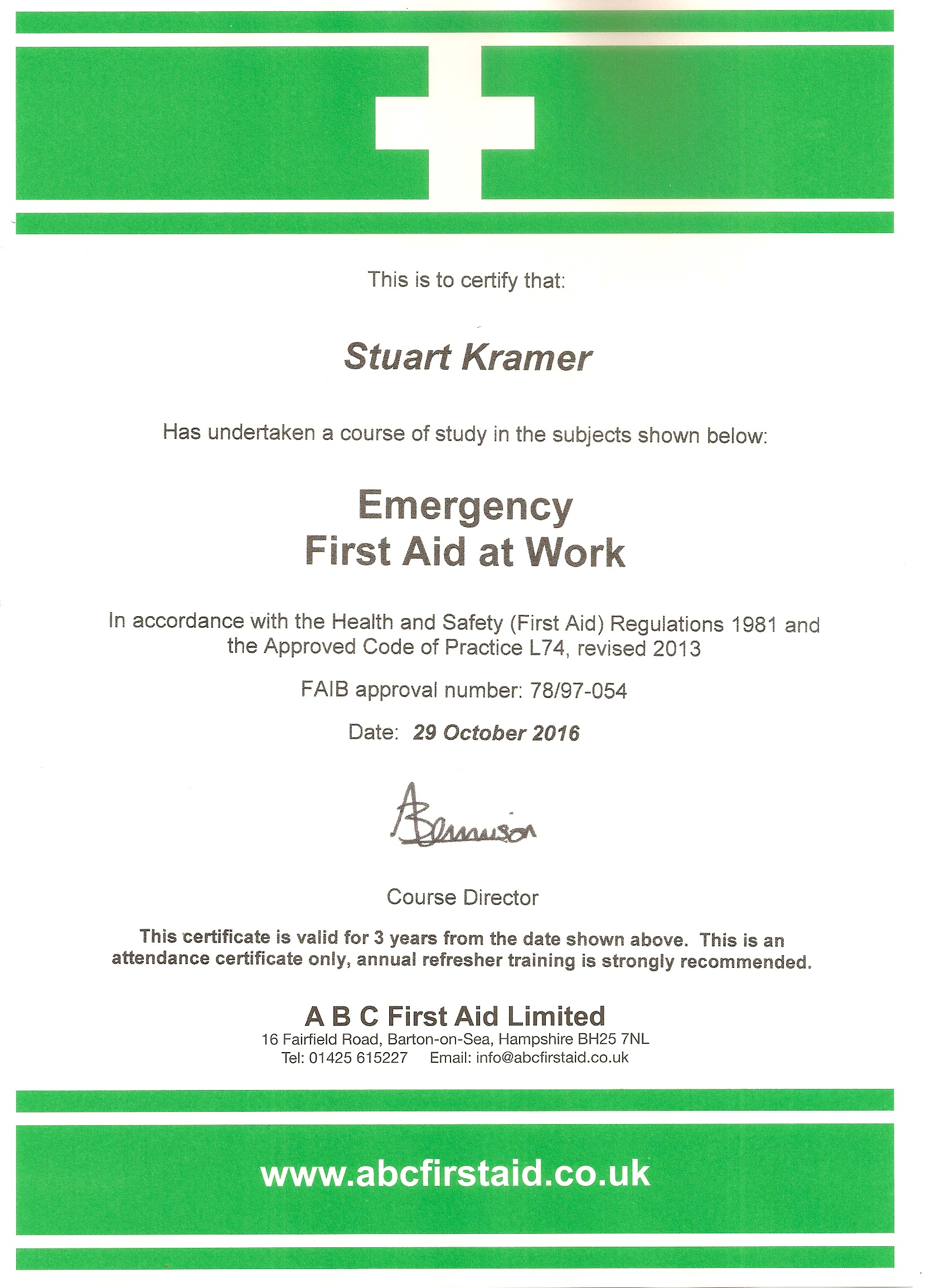 First Aid Certificates Bush House Osteopathic Practice